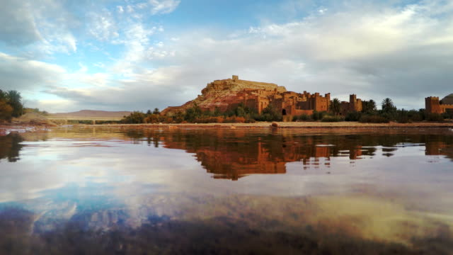 Historical complex of Aït Benhaddou reflecting in water