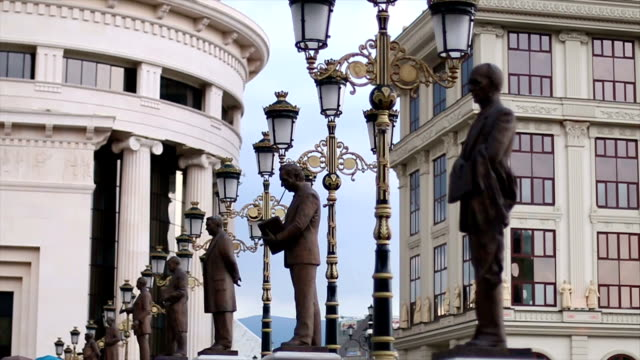 historical monuments - skopje stock videos and b-roll footage