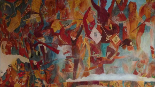 historical mural in teotihuacan - mural stock videos & royalty-free footage