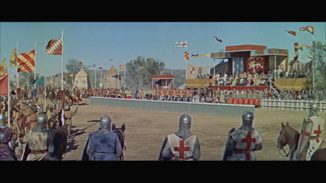 ws historical reenactment, parade at medieval jousting arena - jousting stock videos and b-roll footage