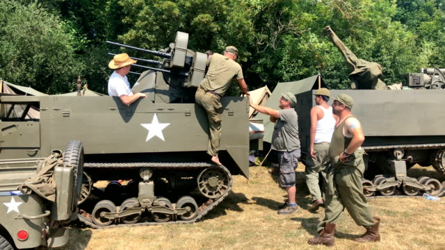 historical reenactors take part in the annual war and peace revival show at hop farm country park on july 24, 2018 in maidstone, england. the world's... - war stock-videos und b-roll-filmmaterial