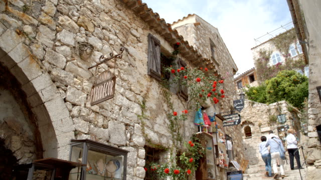 historical roman village in eze - village stock videos & royalty-free footage