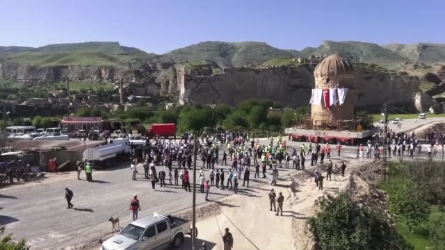 historical zeynel bey tomb is being relocated by selfpropelled modular transporter to hasankeyf cultural park site to prevent it to submerge... - mausoleum stock videos and b-roll footage