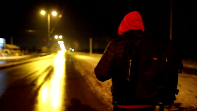 hitchhiking - cold temperature stock videos & royalty-free footage