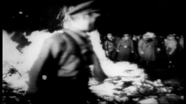 hitler bans all political parties after the reichstag fire / nazi rally and book burning - ナチズム点の映像素材/bロール