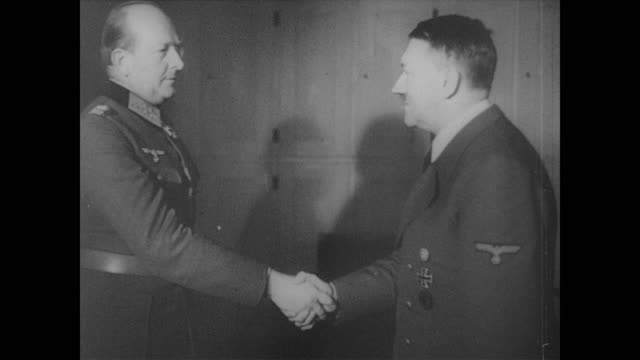 hitler congratulates ss generals lieb and gille and decorates belgium fascist leon degrelle for escaping russian encirclement at cherkassy - 1944 stock videos & royalty-free footage