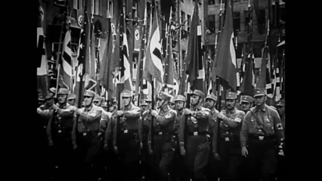 hitler in headquarters with his generals planning military operation / wehrmacht troops marching / british militia marching - british military stock videos & royalty-free footage