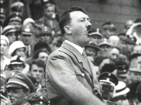 hitler in sa uniform gesturing speaking mot 1934 waiting hd ws silhouette of male pacing in darkened room mot 1934 elder leader president of germany... - 1934 bildbanksvideor och videomaterial från bakom kulisserna