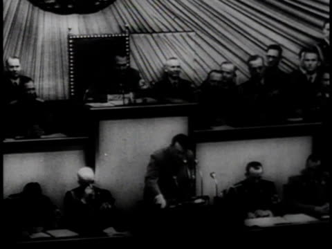 hitler speaking in front of official gathering ridiculing president roosevelt's plea to avoid aggression / germany - 1939 stock videos & royalty-free footage