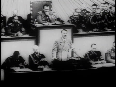 hitler speaking in front of official gathering ridiculing president roosevelt's plea to avoid aggression / germany - third reich stock videos & royalty-free footage