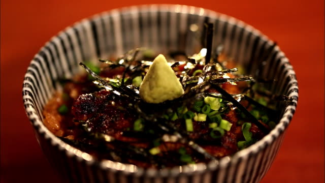 hitsumabushi, a regional cuisine around nagoya, japan - wasabi sauce stock videos and b-roll footage