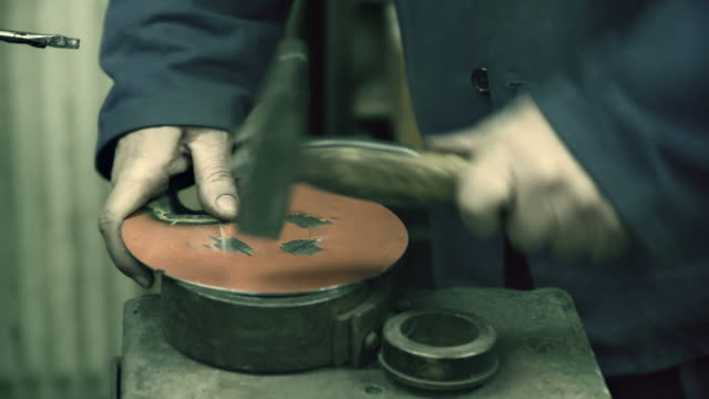 hd: hitting metal object with the hammer - metal clip stock videos and b-roll footage