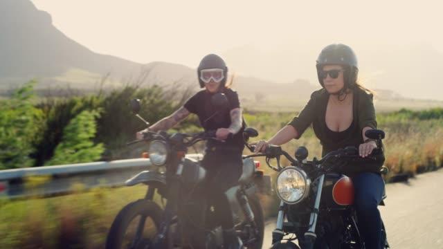 hitting the road on our bikes - casco da motociclista video stock e b–roll