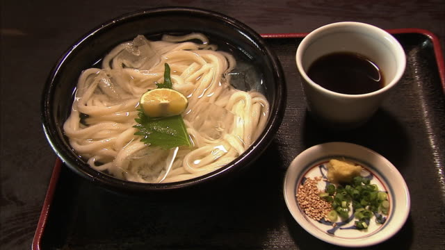 hiyashi udon; cold wheat noodle - shiso stock videos & royalty-free footage