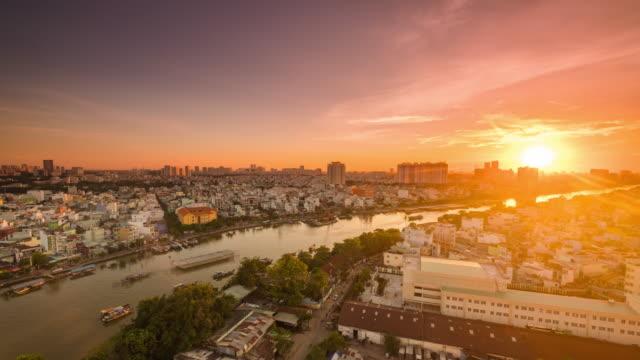 ho chi minh city vietnam time lapse sunset moment. - ho chi minh city stock videos & royalty-free footage
