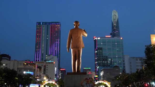 ho chi minh statue in ho chi minh city, vietnam - ho chi minh city stock videos & royalty-free footage