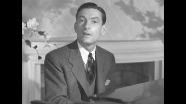 cu hoagy carmichael seated at grand piano plays and sings stardust / note exact year not known documentation incomplete - hoagy carmichael stock videos & royalty-free footage