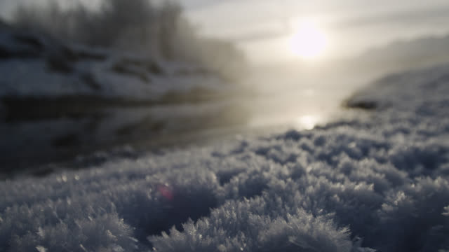hoar frost and misty river at sunrise, alaska, usa - kälte stock-videos und b-roll-filmmaterial