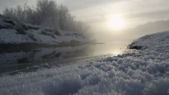 Hoar frost and misty river at sunrise, Alaska, USA