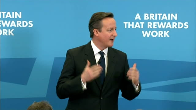 Hoax caller put through to David Cameron Hampshire Southampton INT CUTAWAY of David Cameron MP as making speech / David Cameron SOT I was out for a...
