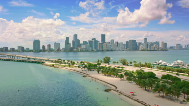 aerial hobie beach on virginia key and downtown miami in the background - coastal feature stock videos & royalty-free footage