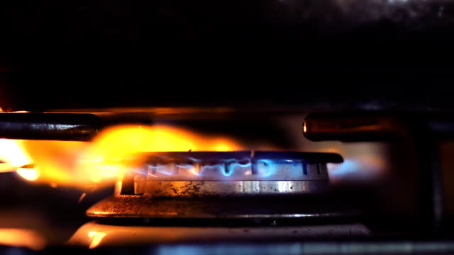 hobs ignition from a matchstick - cooker stock videos and b-roll footage