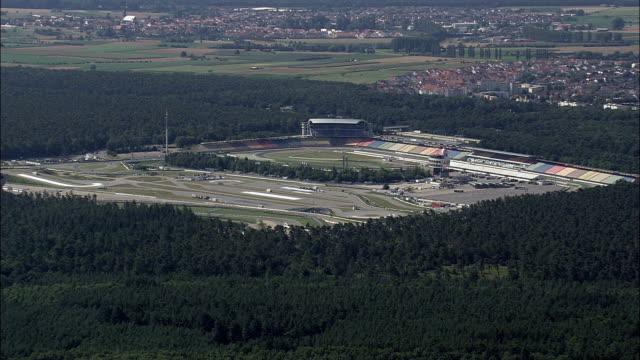 Hockenheimring Race Track  - Aerial View - Baden-Württemberg,  Karlsruhe Region,  Rhein-Neckar-Kreis helicopter filming,  aerial video,  cineflex,  establishing shot,  Germany