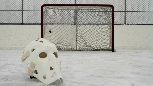 Hockey vintage goalie mask and net