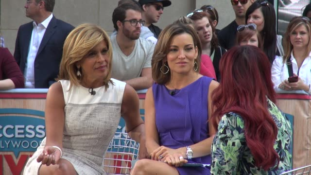 """hoda kotb and kit hoover interviewing nicole elizabeth """"snooki"""" polizzi on the set of access hollywood live show in rockefeller center - celebrity... - hoda kotb stock videos & royalty-free footage"""