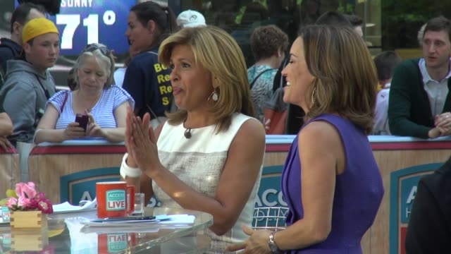 hoda kotb and kit hoover on the set of access hollywood live show in rockefeller center - celebrity sightings in new york on may 20, 2014 in new york... - hoda kotb stock videos & royalty-free footage