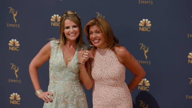hoda kotb and savannah guthrie at the 70th emmy awards arrivals at microsoft theater on september 17 2018 in los angeles california - 70th annual primetime emmy awards stock videos and b-roll footage