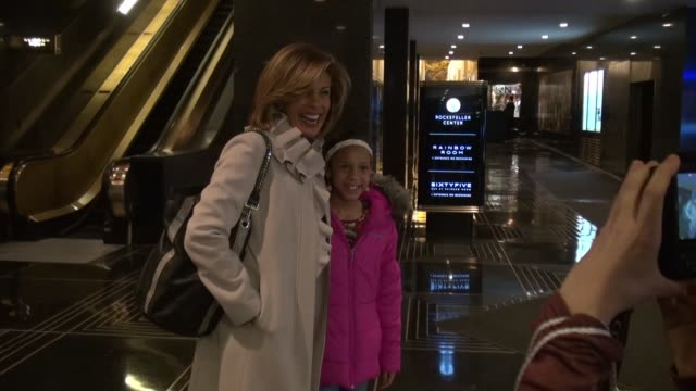 hoda kotb poses for a photo with a young fan in the lobby of nbc studios in celebrity sightings in new york, - hoda kotb stock videos & royalty-free footage