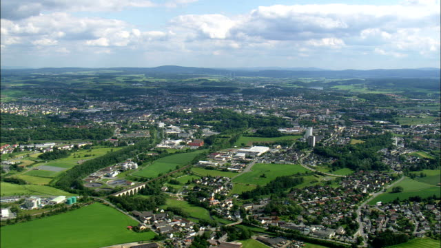 hof  - aerial view - bavaria,  upper franconia,  kreisfreie stadt hof,  germany - baviera video stock e b–roll