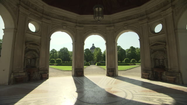 hofgarten, park,  pagode, bushes, lawn, blue sky - pagode stock videos & royalty-free footage