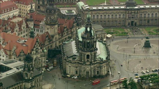 aerial hofkirche cathedral, dresden, saxony, germany - hofkirche stock videos & royalty-free footage