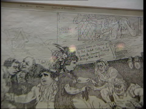 hogarth painting hanging in exhibition cms hogarth line drawing titled 'wit's last stake' dr rodney barker interviewed sot in 18th century the people... - denis healey stock videos & royalty-free footage