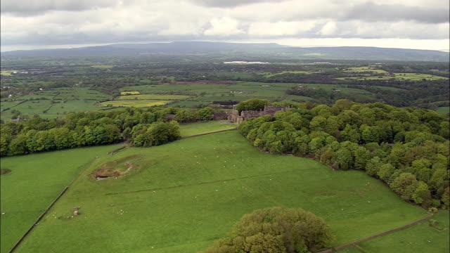 hoghton tower  - aerial view - england, lancashire, chorley district, united kingdom - strategy stock videos & royalty-free footage