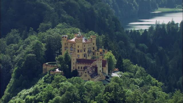 WS HA Hohenschwangau Castle in mountain landscape, Bavaria, Germany
