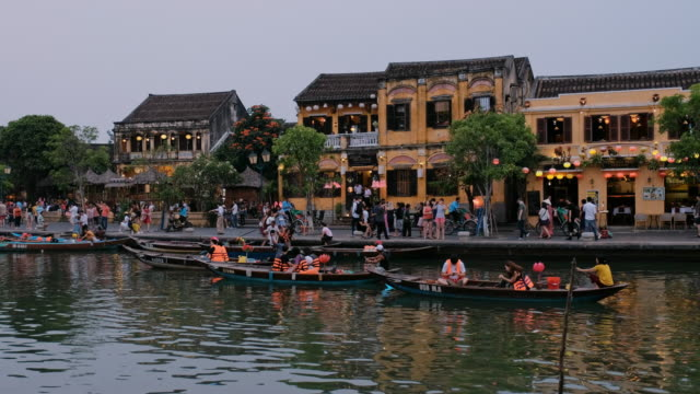 hoi an city in the evening time - vietnam stock videos & royalty-free footage