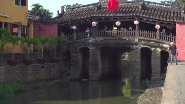 hoi an famous japanese covered bridge - old town stock videos & royalty-free footage