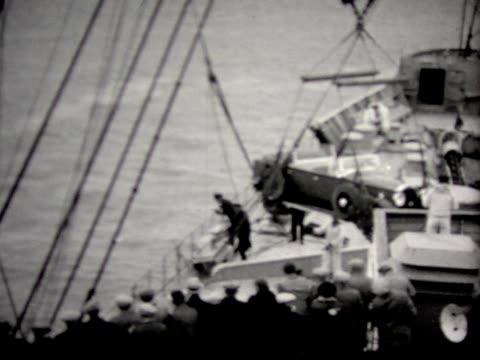 1930 hoisting car from ship - 1930 stock-videos und b-roll-filmmaterial