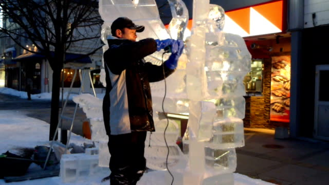 hokkaido, japan - feb. 7: ice sculptors from japan and thailand competed this year's world ice sculpture contest as part of asahikawa winter... - asahikawa stock videos & royalty-free footage