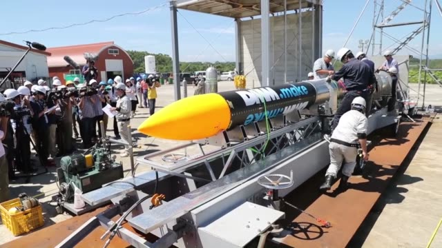 Taiki in Japan's northernmost prefecture of Hokkaido shows a rocket developed by a space venture Interstellar Technologies Inc The 10meterlong...