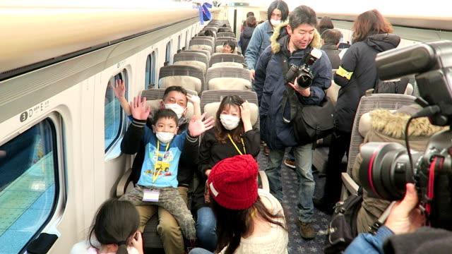 hokkaido railway company held its first test run for the general public on saturday february 13 of the round trip between shinhakodate hokuto station... - 乗客点の映像素材/bロール