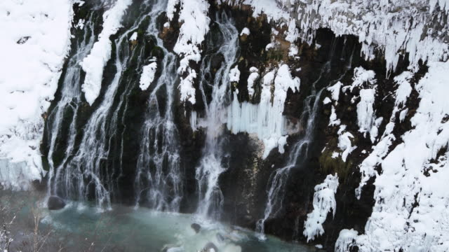 hokkaido waterfall in snowy landscape, high angle - kamikawa subprefecture stock videos and b-roll footage