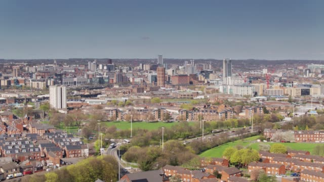 holbeck and leeds city centre from above - drone shot - leeds stock videos & royalty-free footage