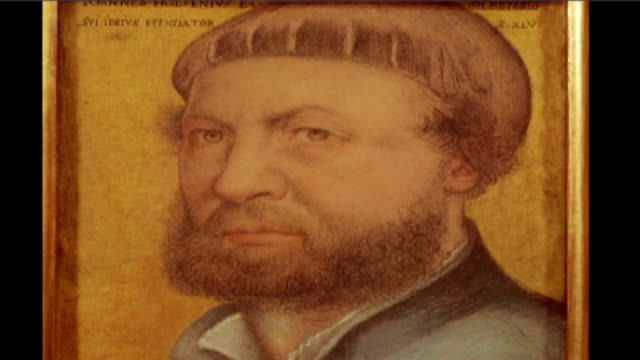 holbein exhibition at tate britain; face of henry viii portrait holbein self portrait from uffizi in florence painting of king's courtier painting of... - wife stock videos & royalty-free footage