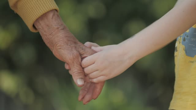 holding hands. detail of a child's hands holding the senior woman hands - grandchild stock videos & royalty-free footage