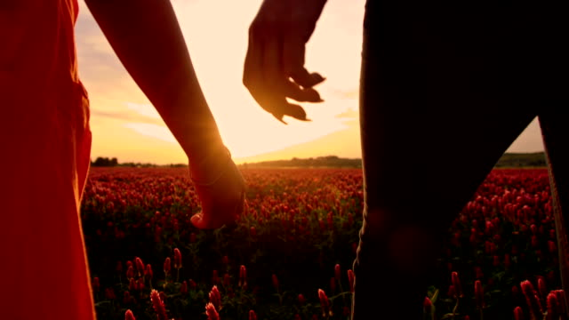 SLO MO Holding hands while walking at sunset