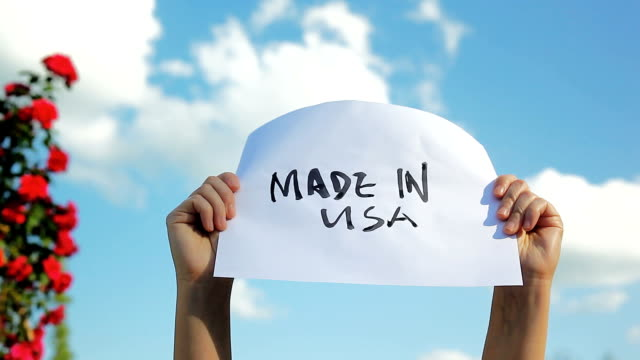 holding paper sign of english words made in usa in the sky - made in usa点の映像素材/bロール